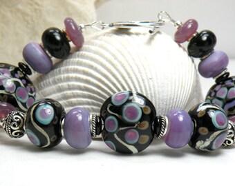 MOONSTRUCK Handmade Lampwork Bead Bracelet