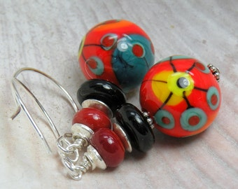 I HEART YOU Handmade Lampwork Bead Dangle Earrings