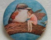 Hand printed, fabric covered, clothing button Fairy and Sparrow 1 & 1/2 inch