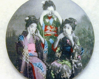 Geisha Button See no Evil Hear no Evil Speak no Evil  - Hand Printed Fabric 1 and 1 eighth inch