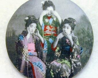 Geisha Button See no Evil, Hear no Evil, Speak no Evil - Hand Printed Fabric 1 and 1 half inch