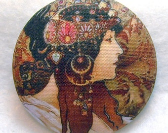 Mucha Art Nouveau Hand Printed Fabric Covered Button 1 and 1/2 inch Diameter M 29
