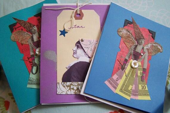 Assorted Fairies Greeting Card Set (Three Handmade Cards) Night Garden Design