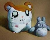 Toy Hamtaro and Totoro print, cute nursery art