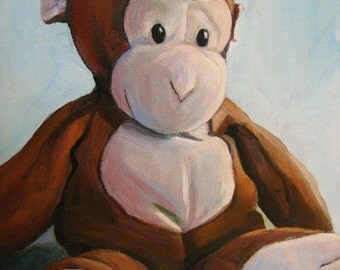 "Stuffed Toy Monkey Print  8""x10"" Nursery Art"