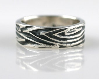 Wood Grain Textured Fine Silver Ring Size 5.5 READY TO SHIP