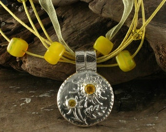 YELLOW STAR THISTLE Fine Silver Necklace (Ready to Ship)