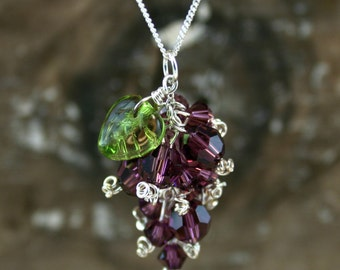 GRAPE BUNCH Swarovski And Sterling Silver Necklace (Ready to Ship)