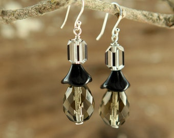 SHADOWS Of The NIGHT Formal Glass And Sterling EARRINGS
