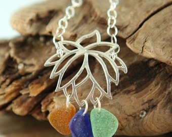 Blooming LOTUS Sterling Silver Necklace GENUINE Sea Glass (Ready to Ship)