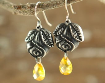 Raindrops on Roses Fine Silver and Cubic Zirconia Earrings (Ready to Ship)