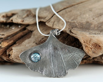 GINKGO Leaf With Dichroic Glass Cab Fine Silver Necklace