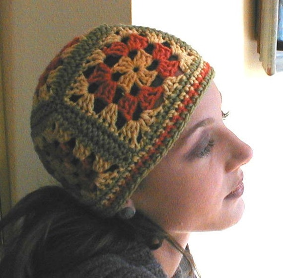 Crochet Granny Square Hat Pattern Free : Colorful Crocheted Granny Square Hat in Autumn Fall Colors