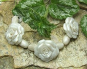 White Satin Rose  Bead Set