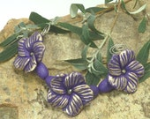 Handmade Flower Bead Set shabby chic Purple antiqued with Gold