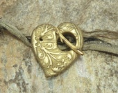 Handmade Heart Toggle Clasp Chartreuse  with Gold