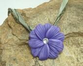 Flower Bead Pendant  Lavender Pearl