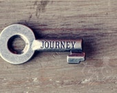 "Abstract Fine Art Photograph, Skeleton Key with Engraved Word ""Journey,"" Metal, Wood, Adventurer, Travel, Small 4x6 Print - PrettyPetalStudio"