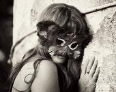 Portrait Fine Art Photograph . Girl Wearing Masquerade Mask . Sorrow Mood . Black and White Photo . Small 4x6Print