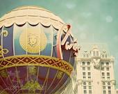 Abstract Fine Art Photograph, Paris Hotel in Las Vegas, Nevada, Hot Air Balloon, Sin City, Vintage Teal Tones, Whimsical Photo, 5x7 Print