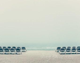 Minimalism Fine Art Photograph, Lido Beach Florida, Foggy Morning, Blue, Teal, Beach Lounge Chairs, Tranquil, Ocean, Beach Photo, 8x10 Print