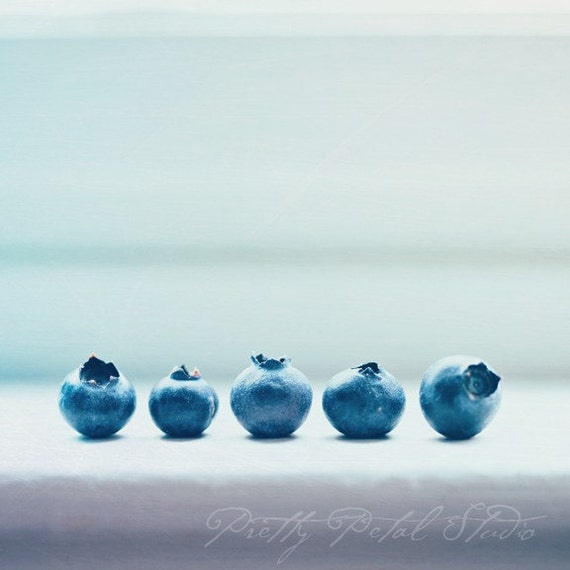 Fine Art Photograph, Blueberries on a Windowsill, Kitchen Art, Blue, Still Life Art, Minimalism, Blueberry Photo, Food Photo, Square Art