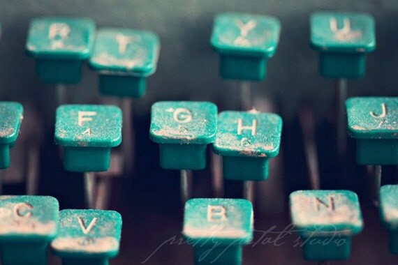 Abstract Fine Art Photograph, Typewriter Photo, Vintage Typewriter Keys, Letters, Numbers, Cool Teal, Gift for Writer, Rustic Art, 4x6 Print