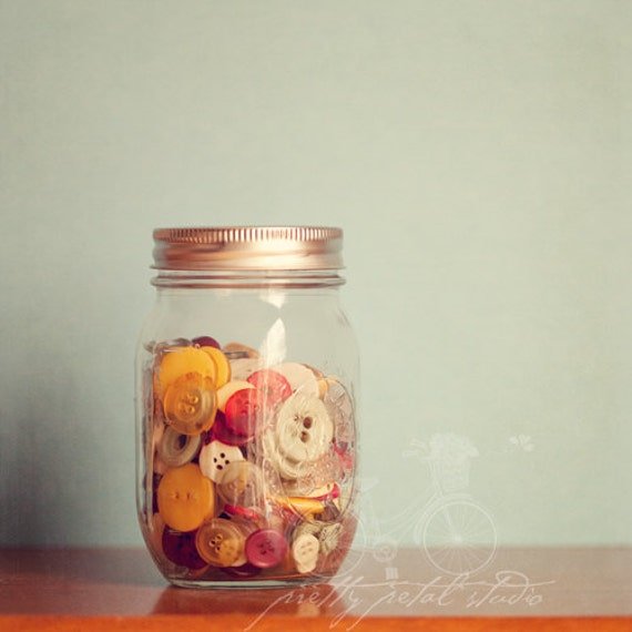 Shabby Chic Fine Art Photograph, Vintage Buttons in a Mason Jar, Still Life, Pastel Tones, Wall Art, Home Decor, Square 8x8 Print