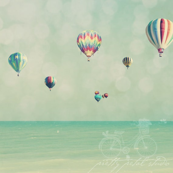 Abstract Fine Art Photograph, Hot Air Balloons, Sky  and Sea, Vintage Teal Tones, Childrens Nursery Art, Whimsical Photo, Square 20x20 Print