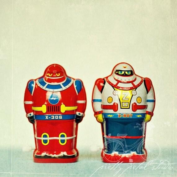 Fine Art Photograph, Wind Up Robots, I Am A Robot, Retro Art, Boys Room Art, Whimsical Print, Red, Blue, Vintage, Toys, Square 8x8 Print