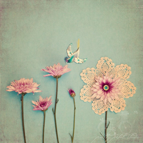 Fine Art Photograph, Mixed Media Garden, Abstract, Pink Flowers, Textures, Humming Bird, Doily, Home Decor, Whimsical, Square 5x5 Print