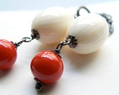 Red hot, bright red and ivory earrings on sterling silver