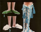 1976 Leisure Arts VINTAGE Crochet and Knit Pattern for Slippers