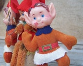 Vintage Christmas Ornaments - Elf Trio
