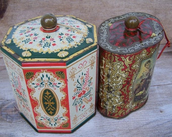 Vintage floral tin canister duo - Shabby Vintage