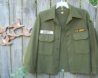 Vintage 1950s Army Jacket / Woolen Jacket / Vintage Army