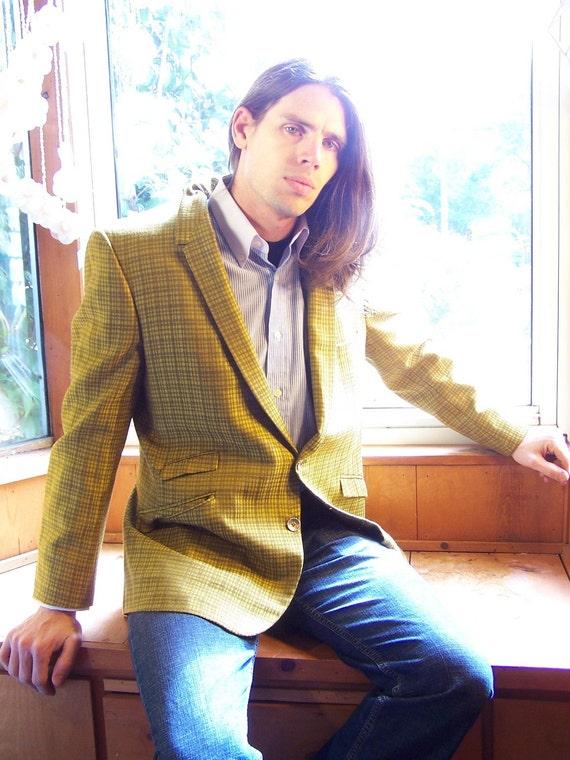 Vintage 1960s Blazer - Preppy - Chartreuse Man