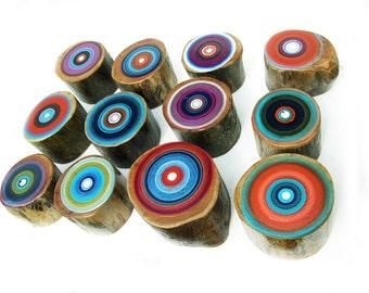 Tree Ring Art, Paintings on Wood, Wall Art, Fall Art, Tree Ring Paintings, Modern Art, Large Wood Wall Art, Fifth Anniversary Gift