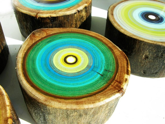 Five Original Modern Tree Ring Paintings on Wood, Perfect Mother's Day Gift for the Art Lover in Your Family