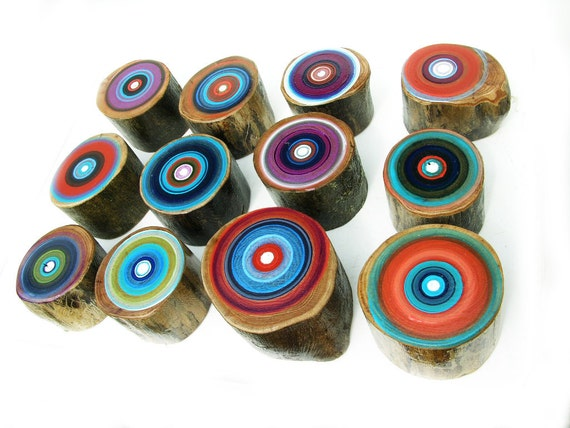 SMALL Tree Ring Paintings Set of 12 Eco Friendly Abstract Paintings on Re Claimed Wood
