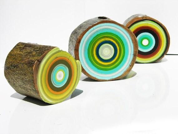 3 original modern - TREE RING - paintings                                -1004-