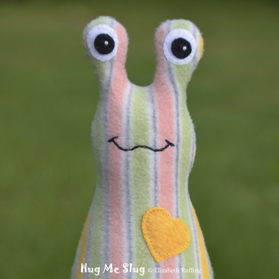 Name THIS Slug, Fundraiser Hug Me Slug by Elizabeth Ruffing, 7 inch, Striped Fleece, Ready-made, Portion to Alley Cats and Angels Rescue
