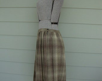 Vintage Plaid Skirt 1950's Pleated Skirt