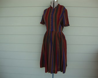 Vintage 1950s Day Dress Striped Dress by Betty Barclay