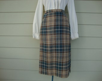 Vintage 1970s Plaid Pencil Skirt Winter Wool extra small