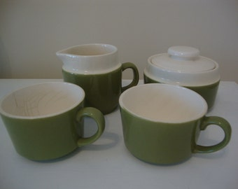 Vintage Avocado Coffee or Tea For 2 Set Creamer Sugar 2 Mugs