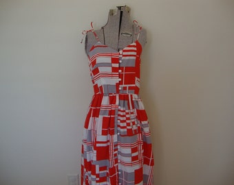 Vintage 1970s Maxi Sundress Abstract Geometric Dress Red Gray and White
