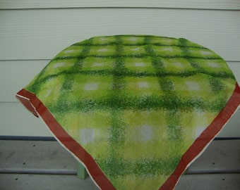 Vintage Green and Brown Silk Scarf Rolled Edges