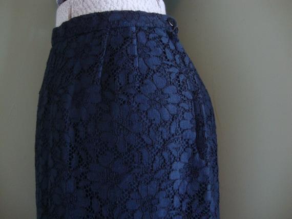 vintage navy blue lace pencil skirt
