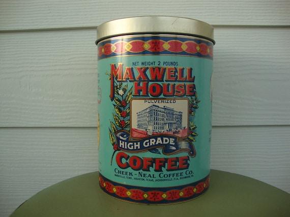 Maxwell House Coffee Tin Vintage 1970s 2 lbs